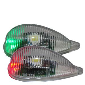 Coppia lampade strobo LED profilate con lente di Fresnel+Nav Rossa/Verde