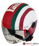 Casco con Scritta Lambretta intagliata tricolore laterale e visiera retta