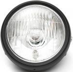 Faro fanale anteriore nero con lampadina alogena per moto Custom - Café Racer