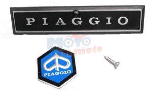 Targhetta Piaggio + fregio e vite per frontale