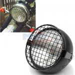Motorcycle Side Mount Headlight with Mask Cover For Cafe Racer Bobber