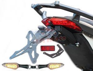 Kit portatarga regolabile con luce targa, catadiottro e supporto e frecce