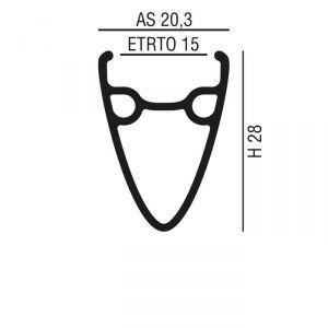 AXEVO CERCHIO STRADA H28 - ALLUMINIO NERO - SOLO PER FRENI A DISCO/PISTA - 550gr