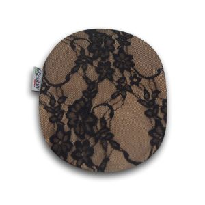 Closed Ostomy Pouch Cover: Beige with Lace