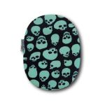 Closed Ostomy Pouch Cover: Green Skulls