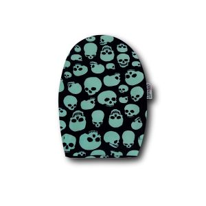 Opened Ostomy Pouch Cover: Green Skulls