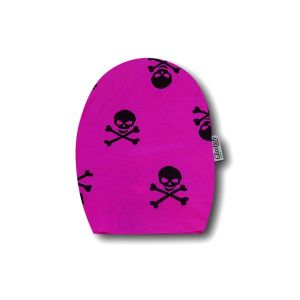 Opened Ostomy Pouch Cover: Fuchsia with Skulls
