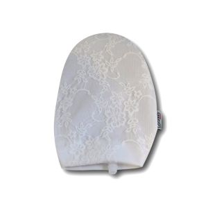 Opened Ostomy Pouch Cover: White with Lace