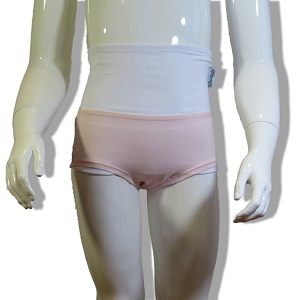 Faja con Ropa Interior Ostomia niña: bragas rosa, faja blanca