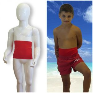 Kids's ostomy waistband: Holiday Red