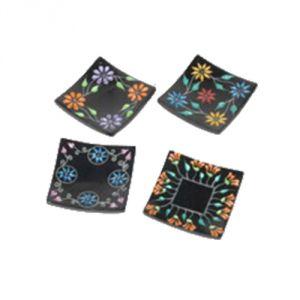 Confezione 4 piattini porta incensi/coni 6,3 x 6,3 cm