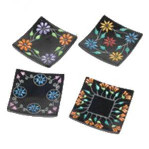 Confezione 4 piattini porta incensi/coni 12,6 x 12,6 cm