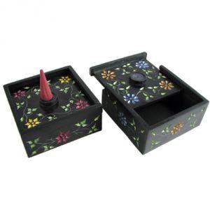 Confezione 2 scatole quadrate in pietra saponaria, porta e brucia coni