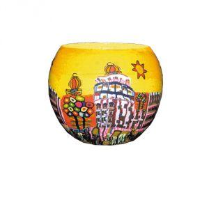 XL325 Villaggio fiabesco giallo - Portalumino 15 cm