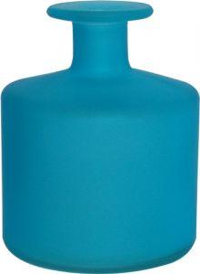 Vasetto vetro satinato cilindro azzurro