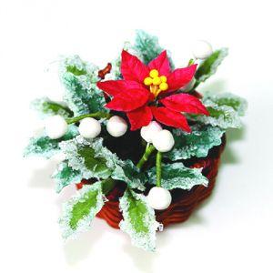 Stella di Natale rossa con agrifoglio