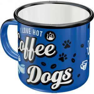 Tazza in metallo I love hot coffee and cool dogs