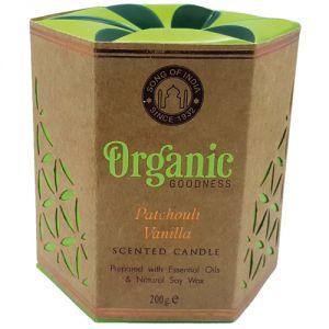 Candela organica, profumazione Patchouli e Vaniglia