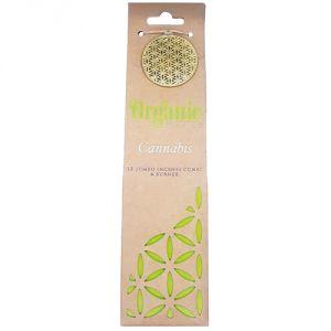Confezione con 12 conetti giganti di  incenso organico, profumazione Cannabis