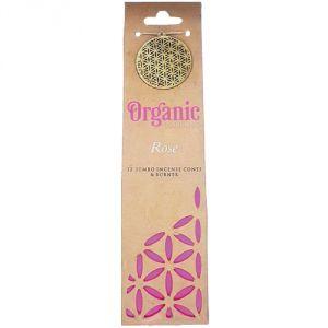 Confezione con 12 conetti giganti di  incenso organico, profumazione Rosa