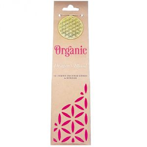 Confezione con 12 conetti giganti di  incenso organico, profumazione Sangue di Drago