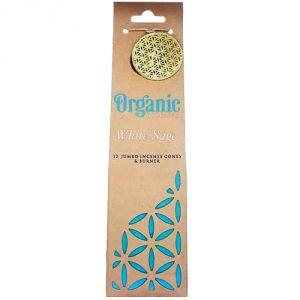 Confezione con 12 conetti giganti di  incenso organico, profumazione Salvia Bianca
