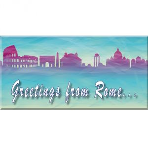 Pannello 10 x 20 cm, greetings from Rome.