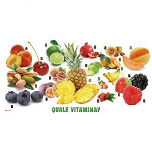 Pannello 20 x 40 cm, puzzle frutta e vitamine.