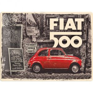 23295 FIAT 500 - Red car in the street