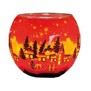 XXL831 Lampada 30 cm - Villaggio invernale rosso