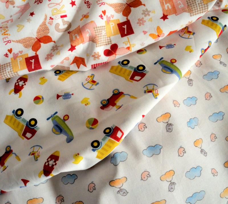 Tessuti per bambini. Millerighe, cotone, uniti e stampati
