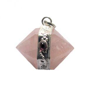 Quarzo rosa con granato