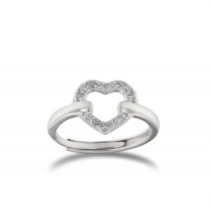 Wire heart ring with cubic zirconia