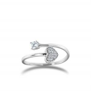 Heart contrariè ring, with cubic zirconia