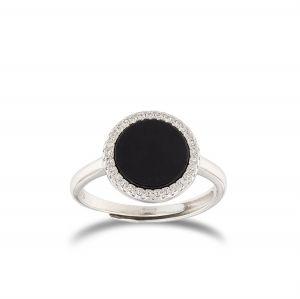 Black round-shape Onyx ring