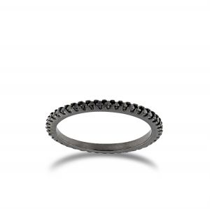 Black ring with black cubic zirconia