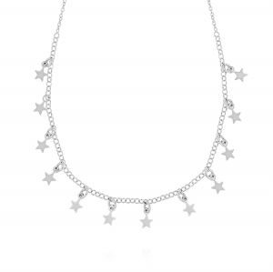 Necklace with 12 small star pendants - variable color