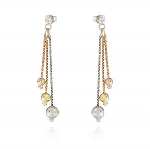 Three-color three-wire earrings with glossy graduated balls
