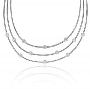 Three wire necklace with diamond cut balls - variable color