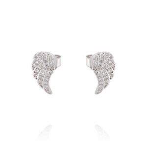 Angel wing earrings with cubic zirconia