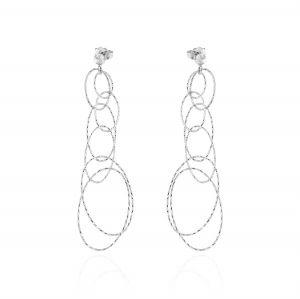 Oval rings earrings with diamond cut