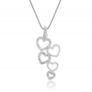 Hearts' cascade necklace