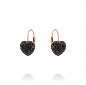 Rosé earrings with black cubic zirconia heart
