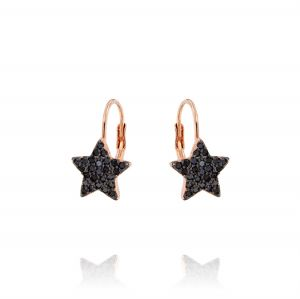 Leverback earrings with star with black cubic zirconia - rosè plated