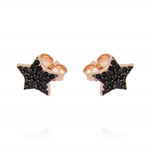 Orecchini stella con zirconi neri - placcato rosé