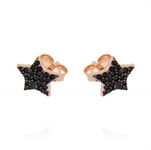 Star earrings with black cubic zirconia - rosé plated