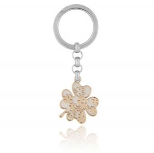 Four-leaf clover steel key ring