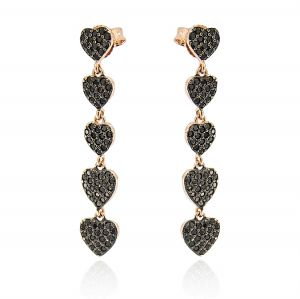 Rosé pendant earrings with 5 black hearts