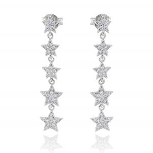 Pendant earrings with 5 white stars