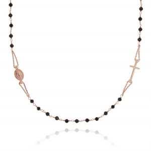 D&G rosary necklace with black stones - rosé plated